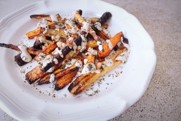 Carrots with Tahini Sauce + Hazelnuts | Serious Crust by Annie Fassler
