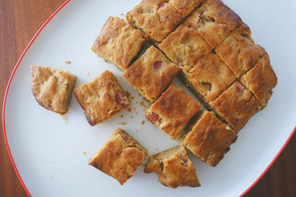 Rhubarb Blondies | Serious Crust by Annie Fassler