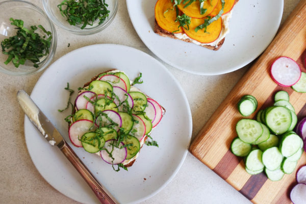 Miso Cream Cheese Toast with Crunchy Vegetables | Serious Crust by Annie Fassler